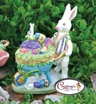 Bunny Wheel Barrow Hinged Box - Clayworks Blue Sky 2006