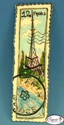 "Eiffel Tower ""Paris France"" Stamp - Clayworks Studio Originals by Heather Goldminc"