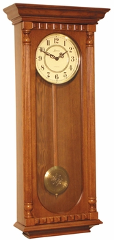 Flat Top Oak German Quartz Wall Clock 874-W by Loricron Clocks