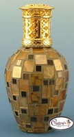 Gold & Black Squares Athens Mosaic Fragrance Lamp by Courtneys
