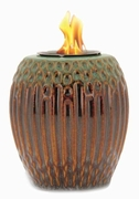 Green/Brown Ribbed Flamepot or Fire Pot by Pacific Decor