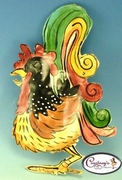 Green Tail Rooster Wall Plaque - Clayworks Studio Originals by Heather Goldminc