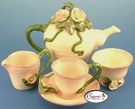 Heather's Special Pink Rose Tea Set - Clayworks Blue Sky 2006