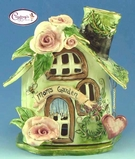 Mom's Garden Small Candle House - Clayworks Studio Original by Heather Goldminc