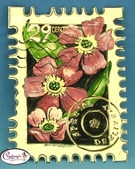 "Pink Poppies ""Special Delivery"" Stamp - Clayworks Studio Originals by Heather Goldminc"