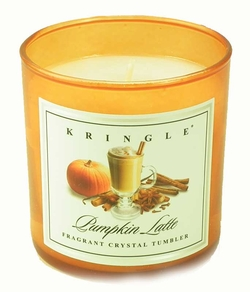 PUMPKIN LATTE Colored Crystal Tumbler Candle by Kringle