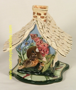 Robin Song Bird T-Lite House - Clayworks & Blue Sky