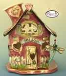 Rose House of Love Candle House - Clayworks Studio Originals by Heather Goldminc