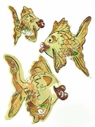 Rosy-Peach Kissy Fish Trio - Clayworks Studio Originals by Heather Goldminc