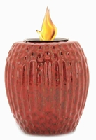 Ruby Red Ribbed Flamepot or Fire Pot by Pacific Decor