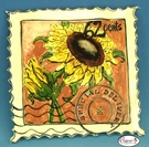 "Sunflower ""Special Delivery"" Stamp - Clayworks Studio Original by Heather Goldminc"