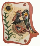 Suns Up Rooster Mounted Tiles - Clayworks Studio Originals