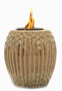 Tan/Brown Ribbed Flamepot or Fire Pot by Pacific Decor