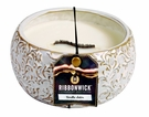 VANILLA SATIN LARGE ROUND RibbonWick Scented Candle