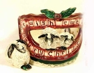 We Wish Ewe a Merry Christmas Candle Holder - Retired Clayworks 2001