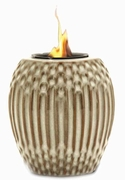 White/Brown Ribbed Flamepot or Fire Pot by Pacific Decor