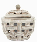 White Weave Tuscan LONGFIRE Flamepot or Fire Pot by Pacific Decor