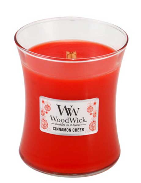 CINNAMON CHEER WoodWick 10oz Large Jar Candle Burns 100 Hours