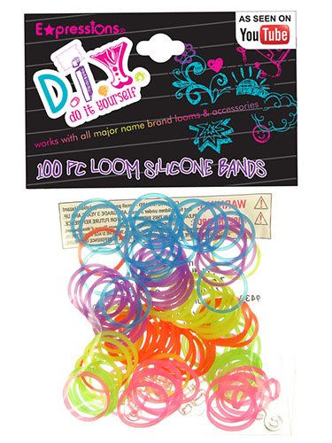 100-Piece Rainbow Color Silicone Bracelet Rubber Bands