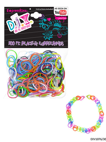 300-Piece Assorted Color Latex Free Bracelet Rubber Bands