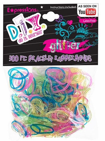 300-Piece Latex Free Glitter Bracelet Rubber Bands