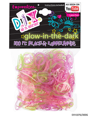 300-Piece Latex Free Glow in the Dark Bracelet Rubber Bands