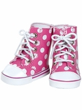 Adora Pink and White Polka Dot High Top Shoes for 18-Inch Dolls