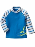 Infant Blue Stripe Rash Guard Sun Protection Top