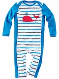 Infant Blue Stripe Sun Protection Swim Romper