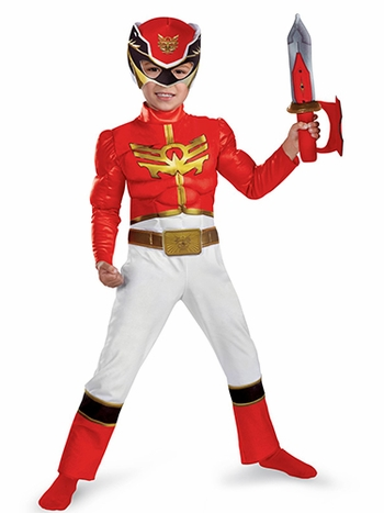 Red Power Ranger Megaforce Muscle Chest Toddler Child Costume