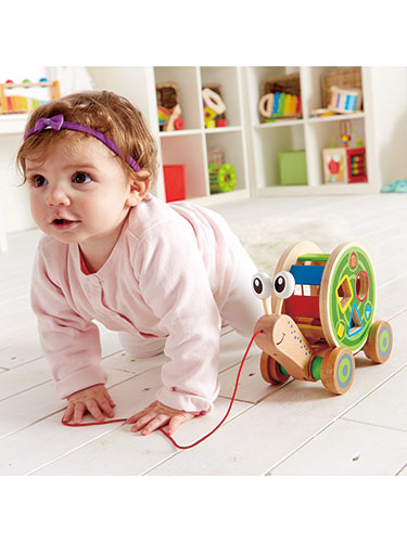 Walk-A-Long Snail Wooden Shape Sorter Pull Toy
