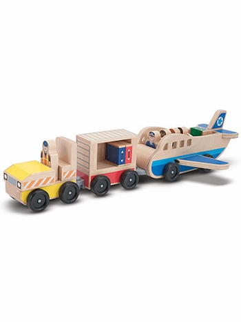 Whittle World Wooden Plane & Luggage Carrier Play Set
