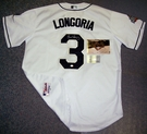 Evan Longoria - Autographed Tampa Bay Rays , White Majestic Official Authentic Jersey - w/2008 World Series Patch