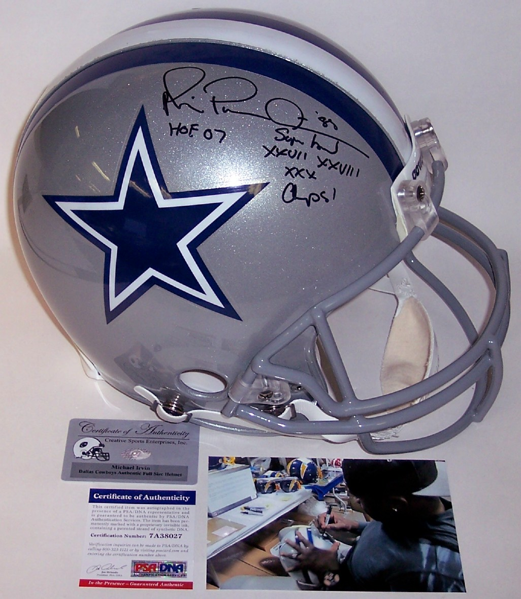 Michael Irvin - Autographed Official Full Size Riddell Authentic ...