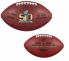 Wilson Official Leather NFL� SUPER BOWL 50 Full Size Game Football - with Broncos and Panthers engraved on ball