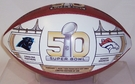 Wilson Official Leather NFL� SUPER BOWL 50 Full Size Game Football - with Broncos and Panthers pad printed on ball