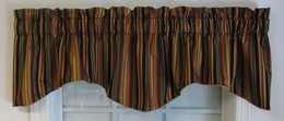 Devon Stripe Scallop Valance - Black