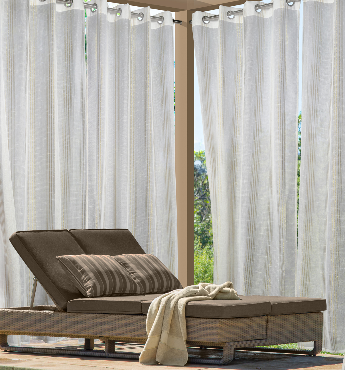 Gazebo curtains outdoor - Louisa Outdoor Semi Sheer Metallic Pin Stripe Grommet Curtain Panel