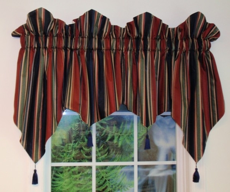 Pennant Valance with Key Tassels - Warwick CLEARANCE