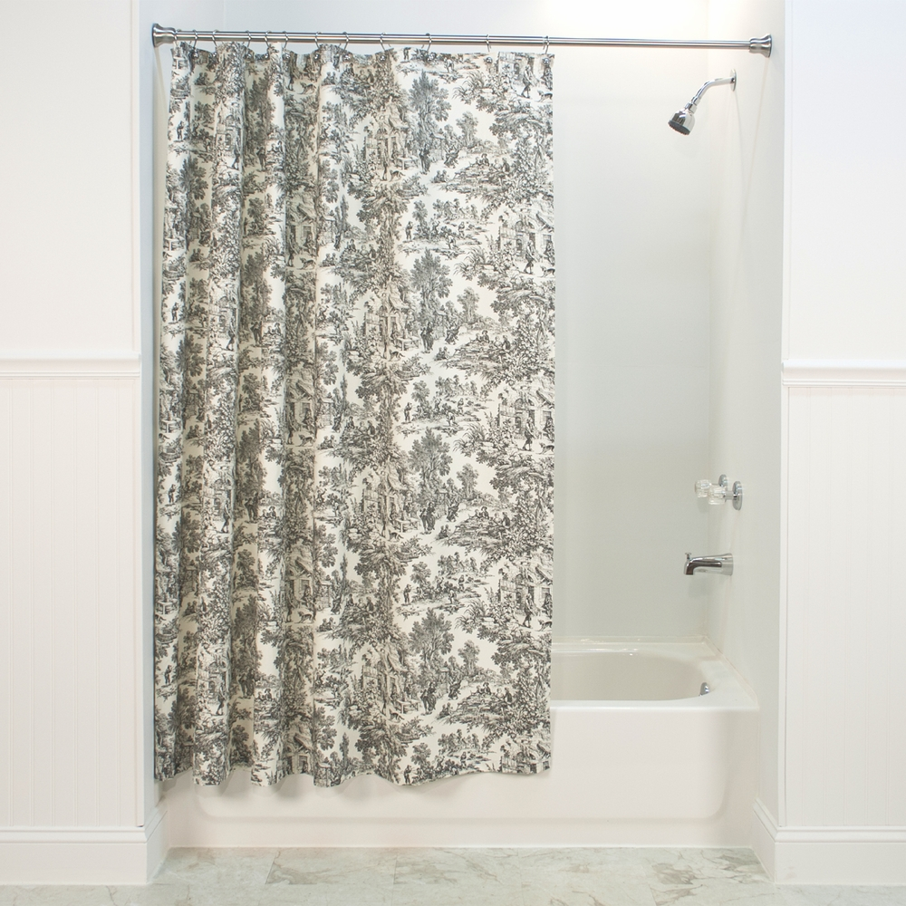 Black toile shower curtain - Black Toile Shower Curtain Victoria Park Toile Shower Curtain Zoom Red Blue Black