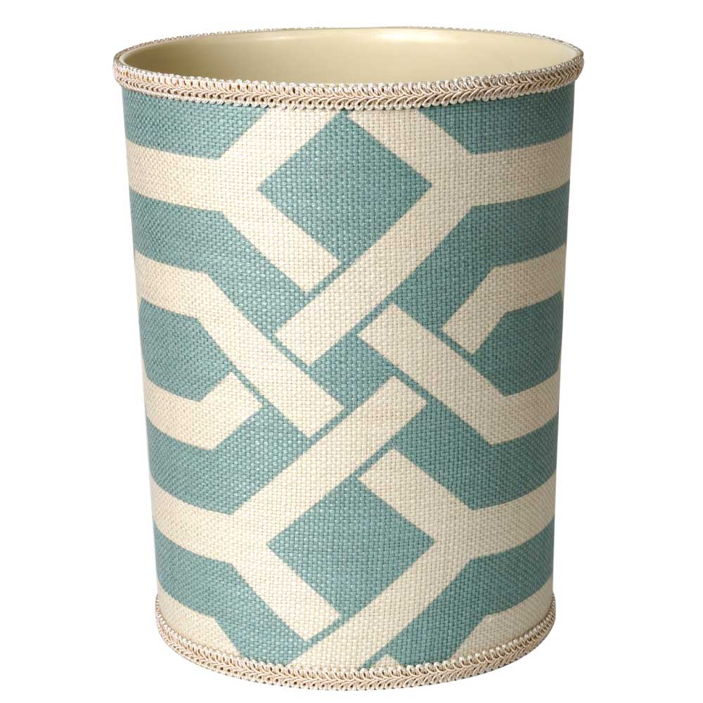 bathroom trash cans blue geometric
