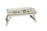 Bed Tray with Folding Legs Wooden Ivory Red Tulips