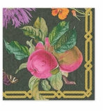 Cocktail Napkins Black Floral