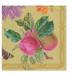 Cocktail Napkins Gold Floral