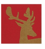 Cocktail Napkins Stag Red