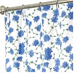 """Extra Long Shower Curtains Blue Floral 84"""""""