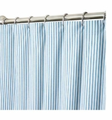 Extra Long Shower Curtains Blue Ticking