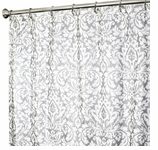 Fabric Shower Curtains Damask Silver