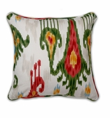 Ikat Pillows Red Green without Insert