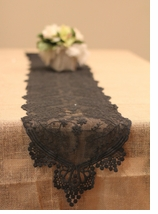 Lace Table Runners Black - Pk 6